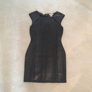 Arden B. Little Black Spike Dress Faux Leather